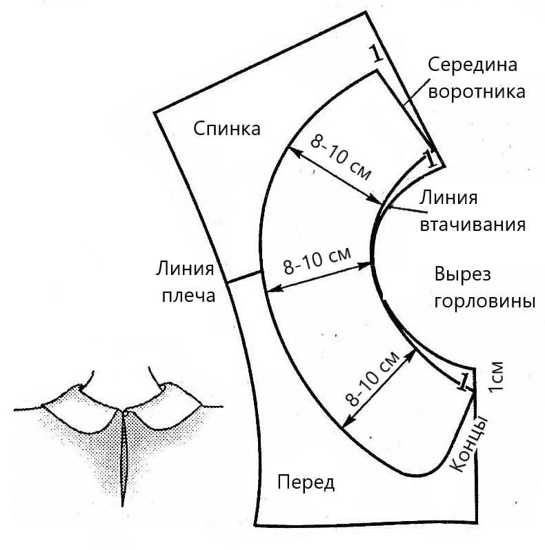 Шаблон воротника для жилетки